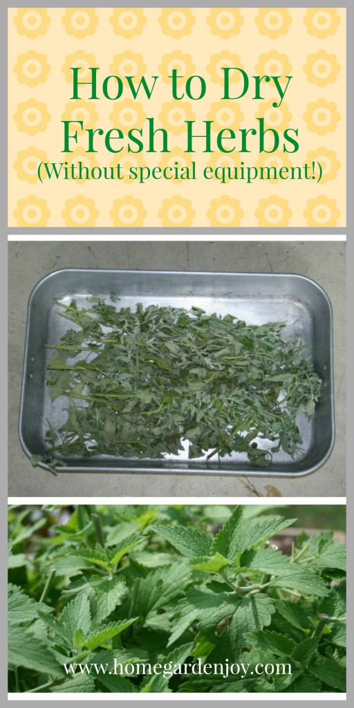 dry fresh herbs