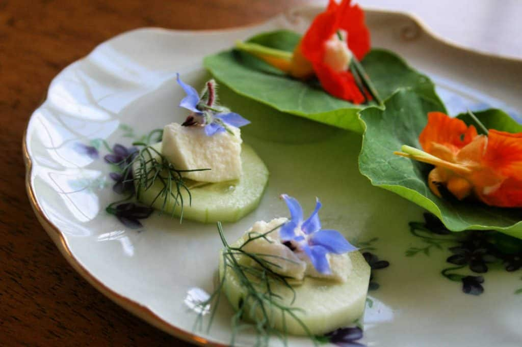 fancy plate with edible flowers